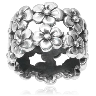Journee Collection Sterling Silver Flower Band (14MM)