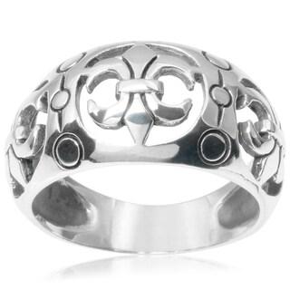 Journee Collection Sterling Silver Fleur-die-lis Ring