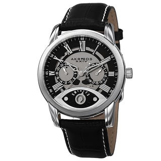 Akribos XXIV Men's Multifunction Step Dial Leather Silver-Tone Strap Watch