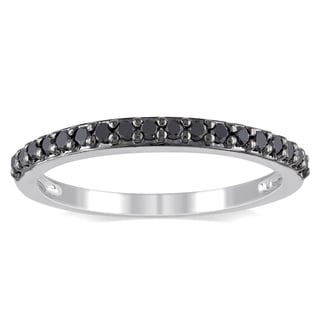 Miadora Sterling Silver 1/4ct TDW Black Diamond Ring