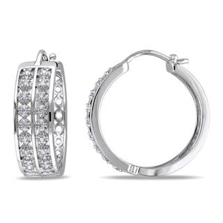 Miadora Sterling Silver 1/5ct TDW Diamond Hoop Earrings