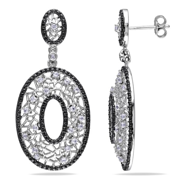 Miadora Sterling Silver Created White Sapphire Dangle Earrings
