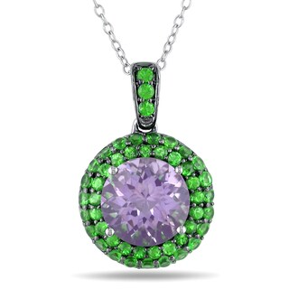 Miadora Sterling Silver 4 3/5ct TGW Rose de France and Tsavorite Necklace