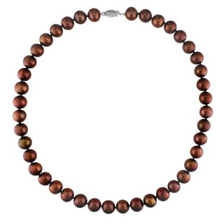 Miadora 14k White Gold Brown Cultured Freshwater Pearl Necklace (10-12 mm)