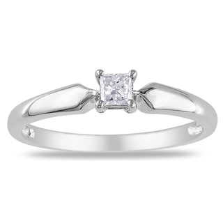 Miadora 10k White Gold 1/5ct TDW Diamond Solitaire Ring