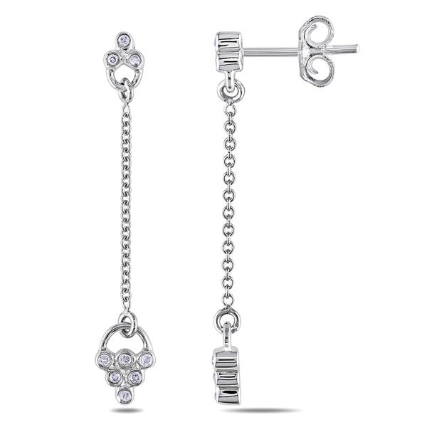 Miadora 14k White Gold 1/10ct TDW Diamond Dangle Earrings