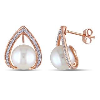 Miadora 10k Rose Gold Cultured Freshwater Pearl and 1/4ct TDW Diamond Earrings (H-I, I2-I3)
