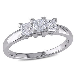 Miadora Signature Collection 14k White Gold 3/4ct TDW Diamond Princess-cut Three-stone Ring