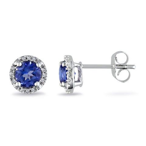 Miadora Sterling Silver Created Blue Sapphire and Diamond Halo Earrings