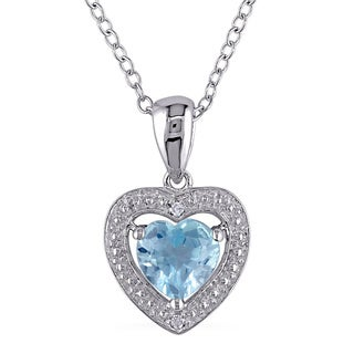 Miadora Sterling Silver 1ct TGW Blue Topaz and Diamond Accent Heart Necklace