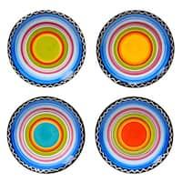Tequila Sunrise 6-inch Assorted Ceramic Canape Plates (Set of 4)