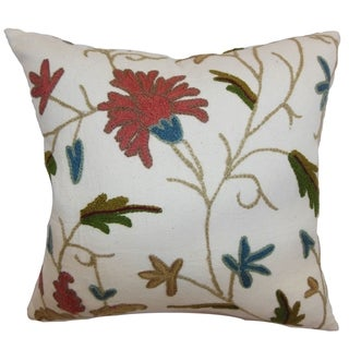 Silvia Rust Blue Floral 18-inch Feather and Down Filled Throw Pillow
