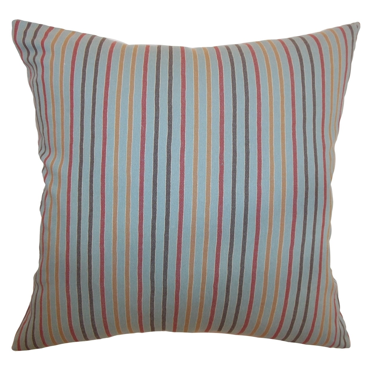 Lesly Blue and Grey Stripes 18-inch Feather and Down Filled Throw Pillow (Patterned)