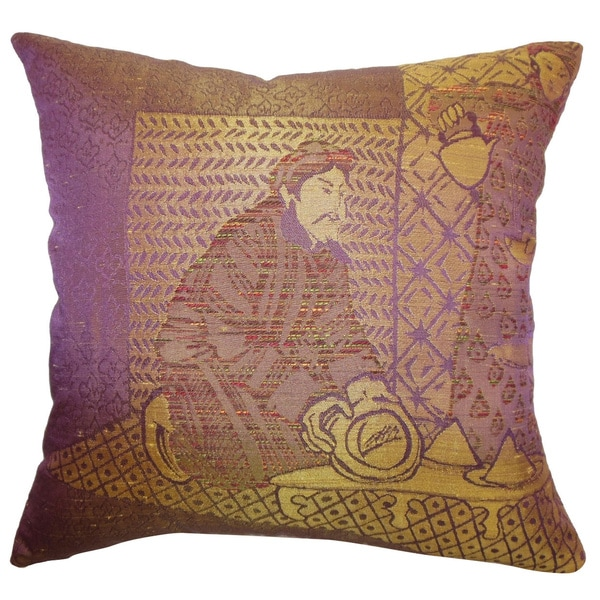 Ladinas Purple Weave Feather and Down Filled Throw Pillow