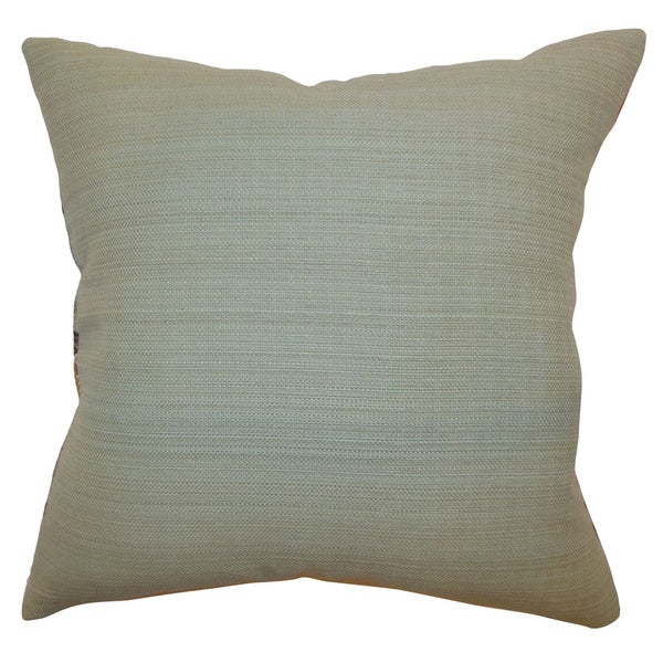 Calais Mineral Solid 18-inch Feather and Down Filled Throw Pillow