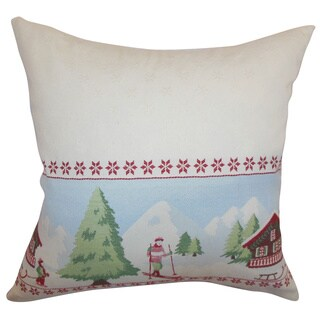 Florina Creme Holiday Feather and Down Filled Throw Pillow