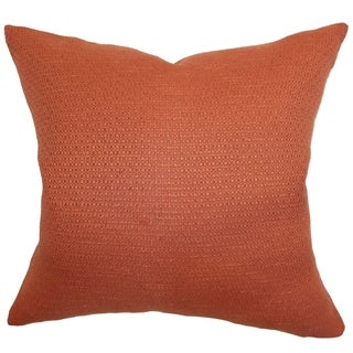 Iduna Rust Solid 18-inch Feather and Down Filled Throw Pillow