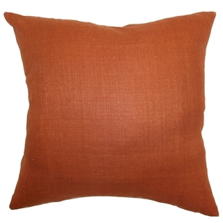 Zaafira Rust Solid 18-inch Feather and Down Filled Throw Pillow