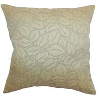 Perdita Gold Floral 18-inch Feather and Down Filled Throw Pillow
