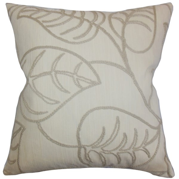 Fabrizia Linen Floral Feather and Down Filled  Throw Pillow