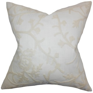 Marely White Snowflakes Feather and Down Filled Throw Pillow