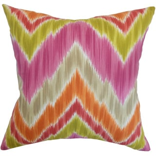 Afutara Fruity Ikat Feather and Down Filled Throw Pillow (18-inch)