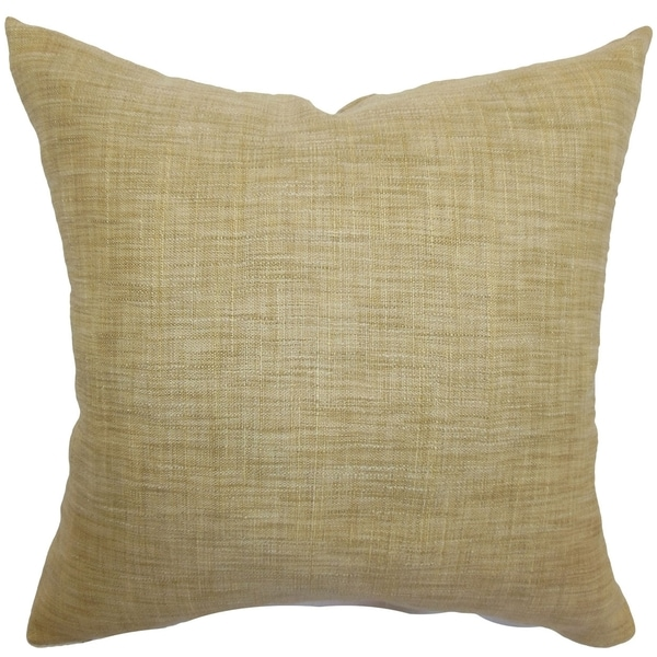 Aediva Burlap Weave Feather and Down Filled 18-inch Throw Pillow