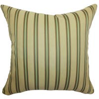 Harriet Gold Stripes Feathered Filled 18-inch Throw Pillow