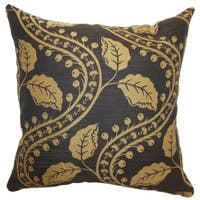 Uzma Brown Floral Feathered Filled Throw Pillow