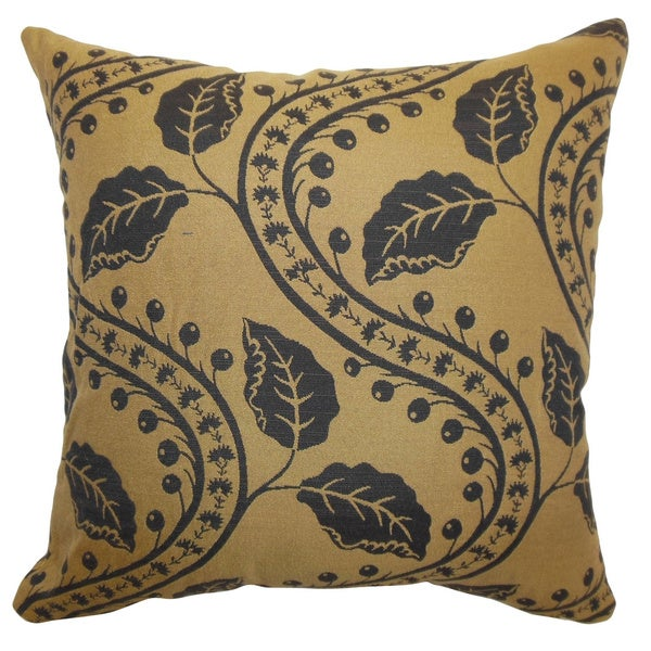 Velma Mocha Floral Feathered Filled Throw Pillow