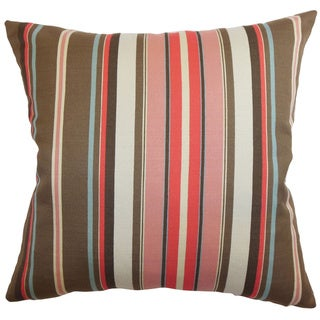 Janeah Stripes Feathered Filled  Throw Pillow (20-Inch - Brown/Red/Multi/Pink)