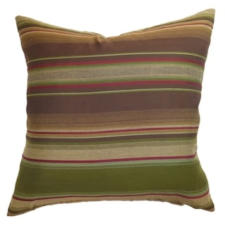 Neville Brown/Olive Stripes Feather and Down Filled Throw Pillow