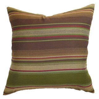 Neville Brown/Olive Stripes Feather and Down Filled Throw Pillow (2 options available)