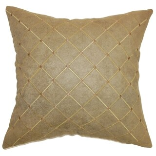 Palmyra Brown Quilted 18-inch Down Filled Throw Pillow