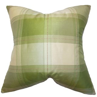 Elske Green Plaid 18-inch Down Filled Throw Pillow