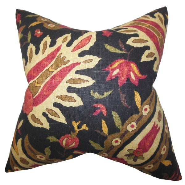 Black Down Throw Pillows : Ozma Floral Black 18-inch Down Filled Throw Pillow - Free Shipping Today - Overstock.com - 16280285