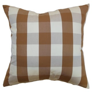 Kamuela Brown Plaid 18-inch Feather and Down Filled Throw Pillow