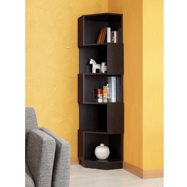 Austin Contemporary Espresso Contoured Bookcase by FOA