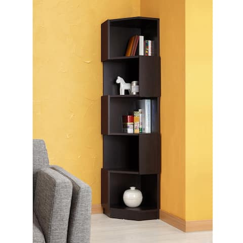 Austin Contemporary Espresso Contoured Bookcase by FOA