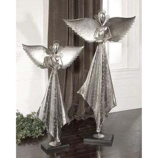 Uttermost Antiqued Nickel and Mango Wood Angel Sculpture (Set of 2)