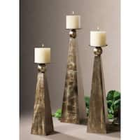 Uttermost Cesano Rustic Bronze Candle Holders (Set of 3)
