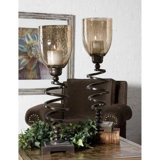 Uttermost Antiqued Spiral Twist Candleholders (Set of 2)