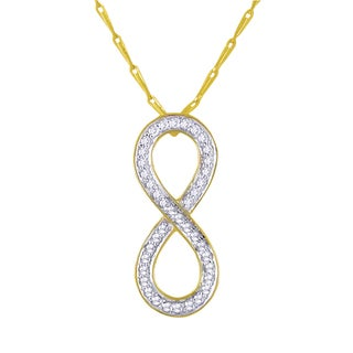 Beverly Hills Charm 14k Yellow Gold 1/5ct TDW Diamond Infinity Necklace (H-I, I2-I3)