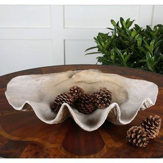 Uttermost Antique White Clam Shell Bowl