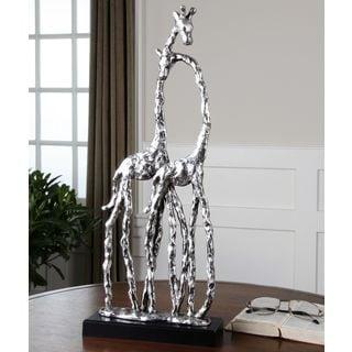 Uttermost Silver Cuddling Giraffes Figurine
