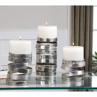 Uttermost Tamaki Silver Candleholders (Set of 3)