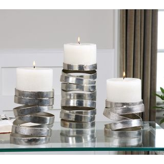Uttermost Tamaki Silver Candleholders (Set of 3)