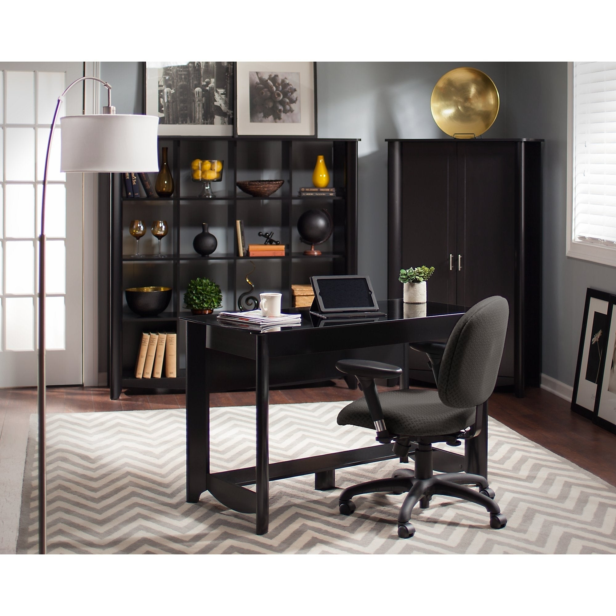 Copper Grove Sofia Writing Desk With 16 Cube Bookcase And Tall Storage Cabinet