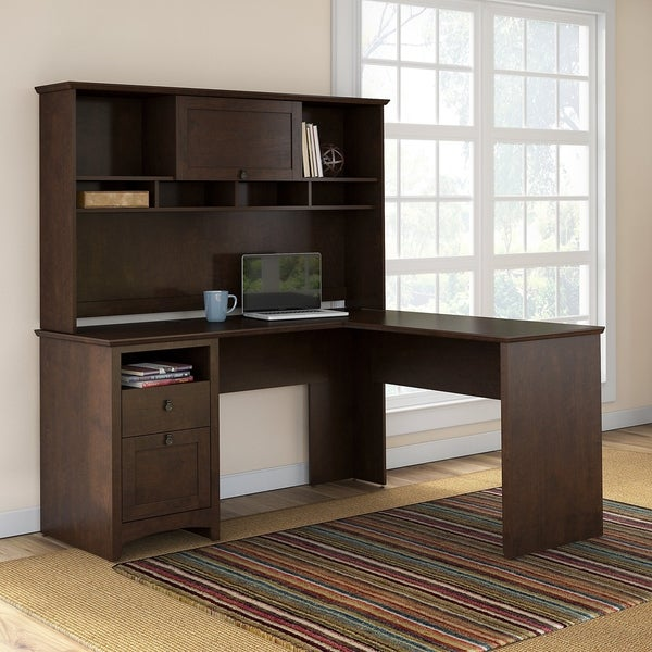 Bon Bush Furniture Buena Vista L Shaped Desk With Hutch In Madison Cherry