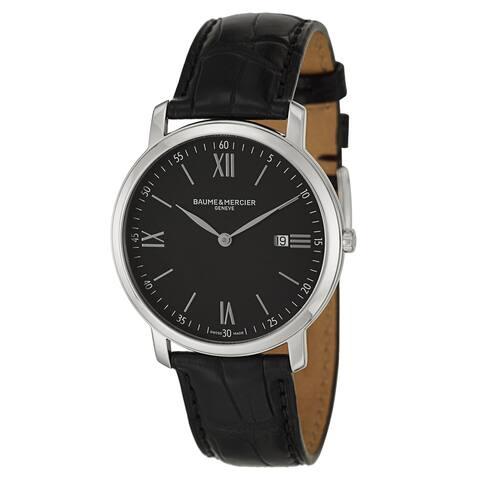 Baume & Mercier Men's MOA10098 'Classima Executives' Black Leather Watch